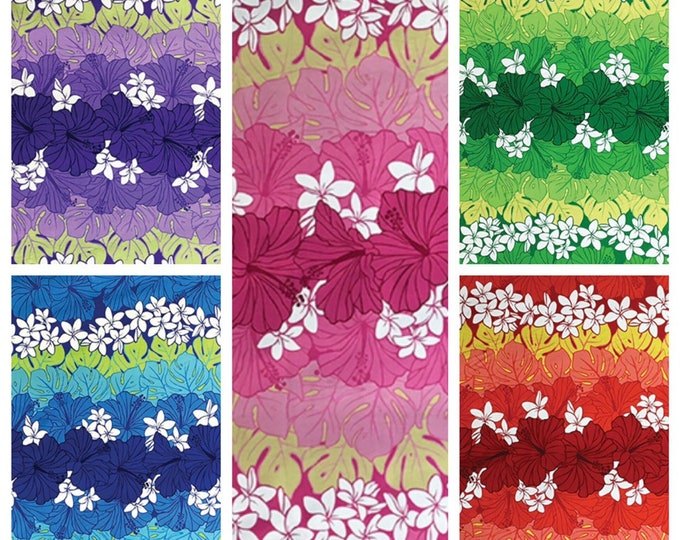 Tropical Hawaiian Packed Hibiscus Plumera Double Border Fabric