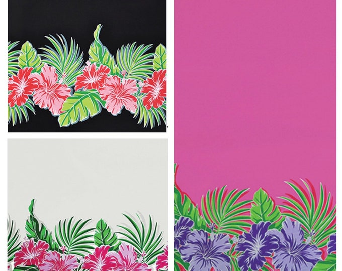 Tropical Hawaiian Hibiscus Banana Leaf Tiki Border Print Fabric