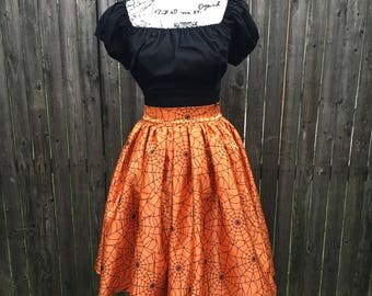 Black & Orange Spiderweb Halloween Skirt