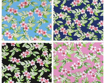 Tropical Hawaiian Allover Plumeria Ilima Flower Fabric