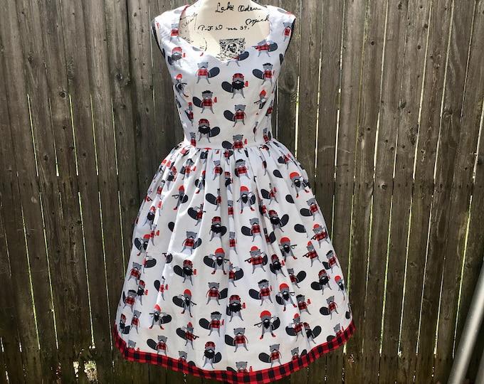 Ariene Dress in Lumberjack Beaver Fabric