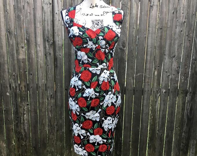 Clara Dress in Skulls & Roses Fabric