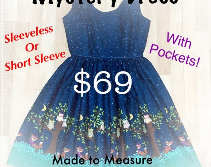 Mystery Retro Pinup Dress with Pockets in Suprise Fabric
