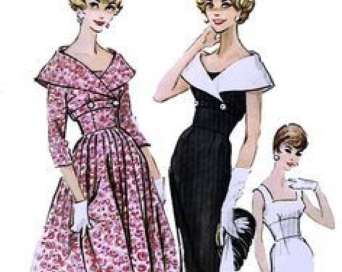 McCall's 4883 Vintage Reproduction Sleeveless Midriff Dress with Full or Pencil Skirt and Jacket Circa 1959