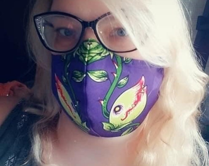 Face Mask Made From Audrey II Venus Flytrap Fabric