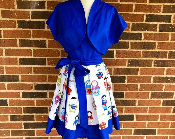 Jessi Dress in Russian Doll Matroyshka Fabric with Bolero