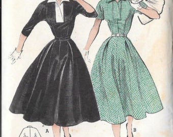 Butterick 6767 Vintage Reproduction Surplice Wing-Collared Dress Circa 1950's