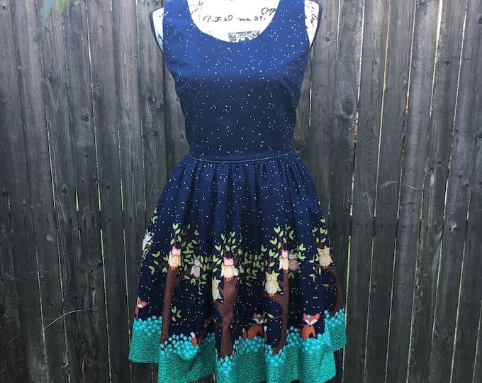 Claudia Dress in Night Sky Owl & Fox Border Fabric
