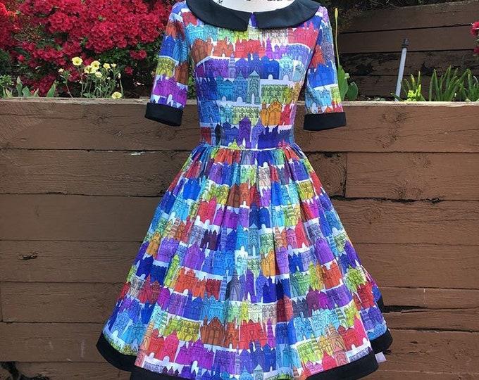 Alaina Collared Dress in Rainbow Castle Sateen