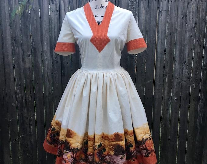 Emily Dress in Autumn Harvest Border Print