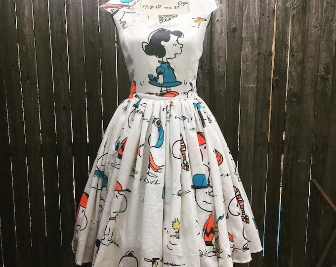 Peanuts Vintage Bedsheet Cap Sleeve Sweetheart Dress