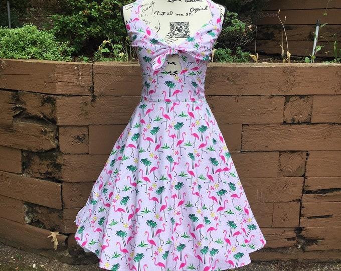 Allie Peekaboo Keyhole Swing Dress with Spaghetti Straps in Flamingo Fabric