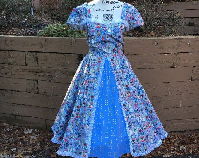 Sweetheart Circle Skirt Dress Made with Packed Books Fabric