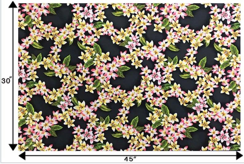 Tropical Hawaiian Tiki Plumeria Trellis Pattern Fabric