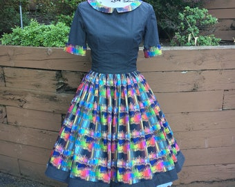 Alaina Collared Dress in Rainbow Colored Pencil Sateen