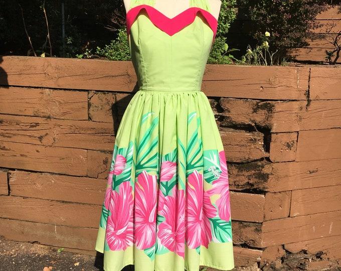 Lime Green Pink Hibiscus Sweetheart Tiki Dress