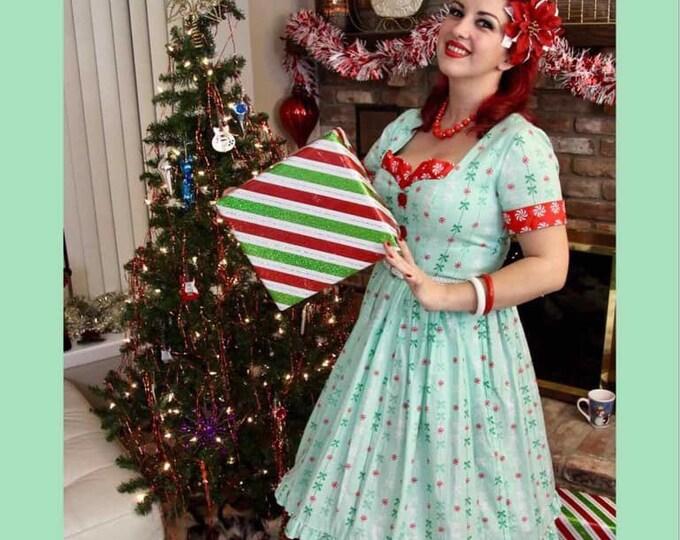 Becky Sweetheart Dress in Michael Miller Peppermint Stripe Fabric