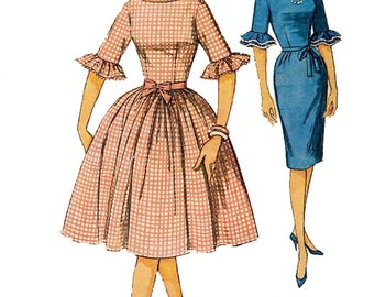 Simplicity 4254 Vintage Reproduction Ruffle Sleeve Dress with Full or Pencil Skirt Circa 1961