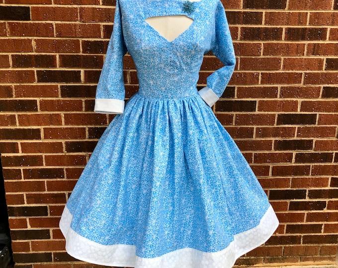 Morgan Dress in Baby Blue Atomic Snowflake Fabric