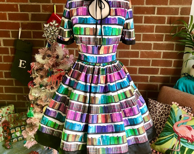 Kristina Dress with Keyhole & Collar in Rainbow Library Book Fabric