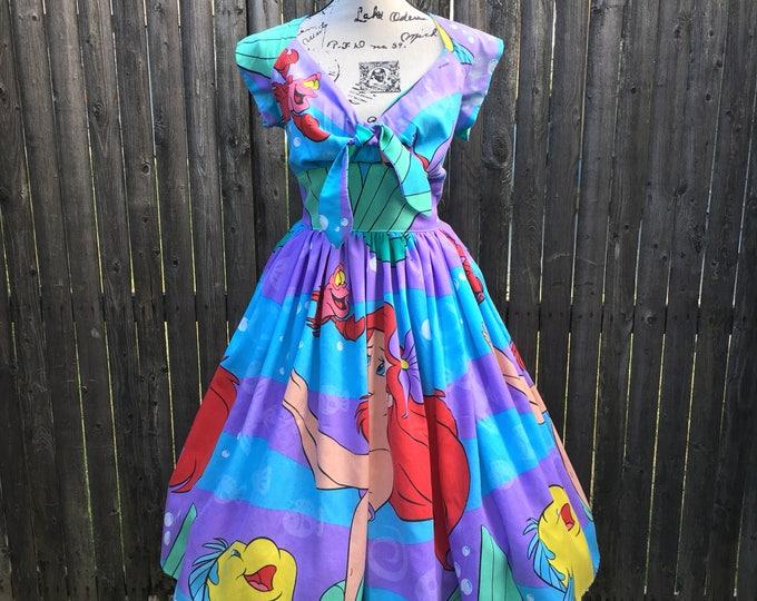 Kenniy Peekaboo Keyhole Swing Dress in Vintage Little Mermaid Sheets