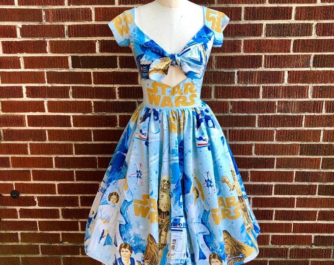 Kenniy Peekaboo Keyhole Swing Dress in Vintage Star Wars Bedsheets