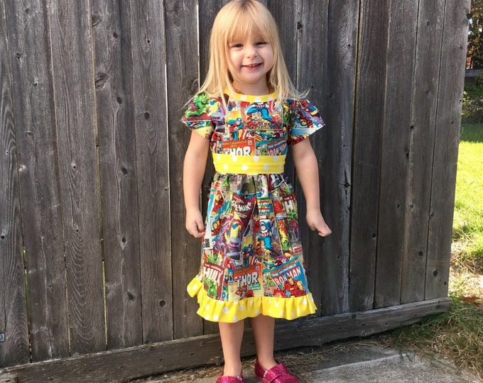Dress Made with Avengers Comic Book Fabric