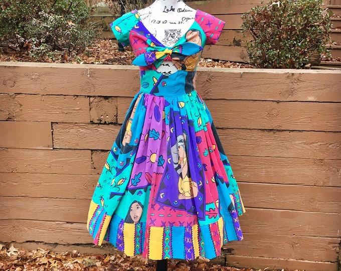 Kenniy Peekaboo Keyhole Swing Dress in Vintage Pocahontas Sheets