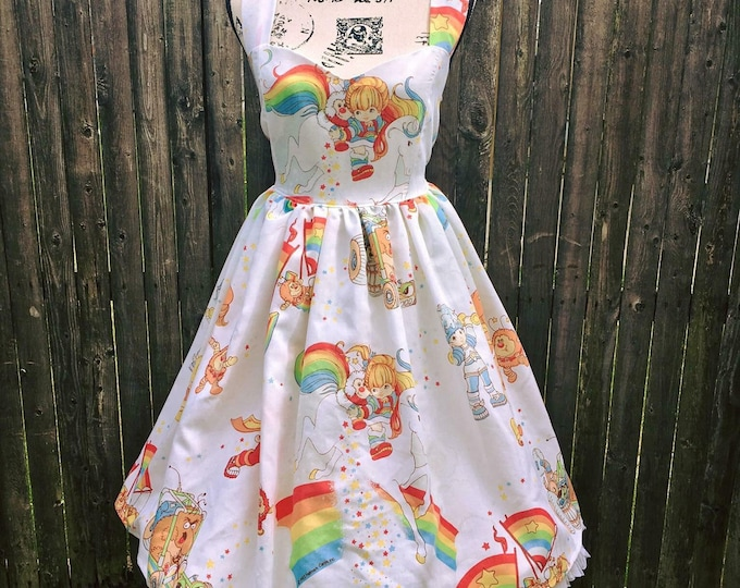 Rainbow Brite Vintage Bedsheet Sweetheart Dress