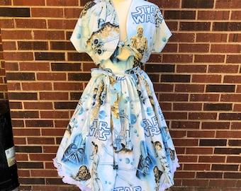 Kenniy Peekaboo Keyhole Swing Dress in Vintage Star Wars Bedsheets with Sash & Reversible Bolero