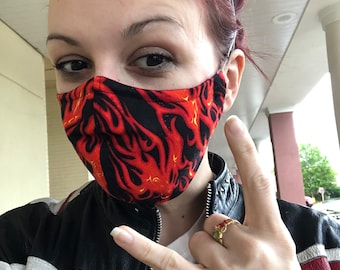 Face Mask Made From Flames Fabric