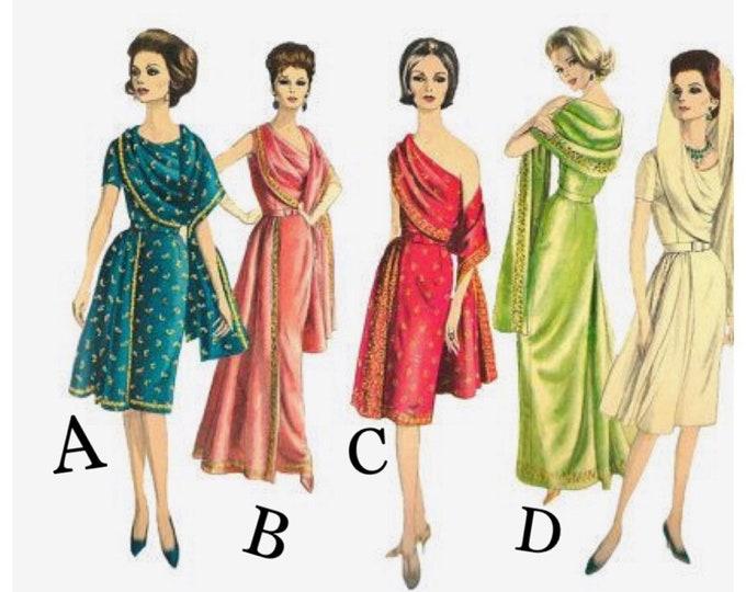 Vintage Reproduction Vogue 5624 Short Sleeve or One Shoulder Cocktail Dress or Gown with Shoulder Drape