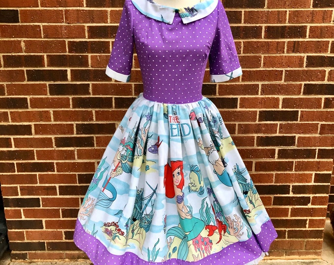 Alaina Collared Dress in Vintage Ariel Little Mermaid Bedsheet & Contrasting Cotton
