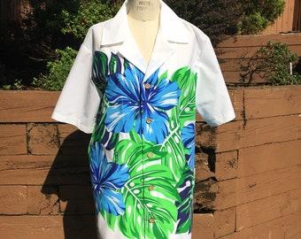 White Button Down Tiki Shirt with Blue Hibiscus Border