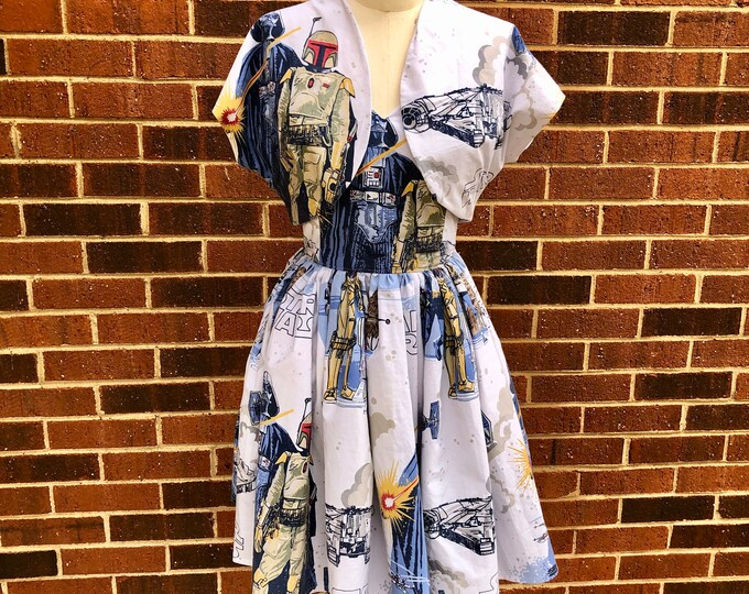 Cali Swing Dress in Vintage Star Wars Bedsheets with Adjustable Straps & Bolero