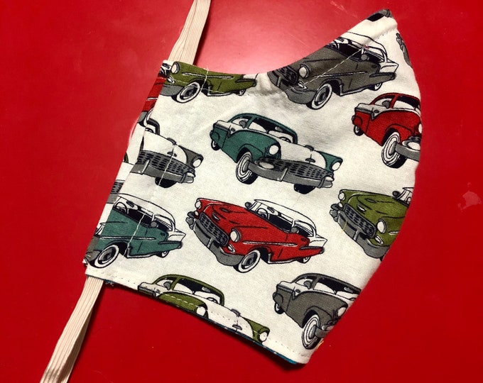 Face Mask Made From Vintage Classic Cars Fabric
