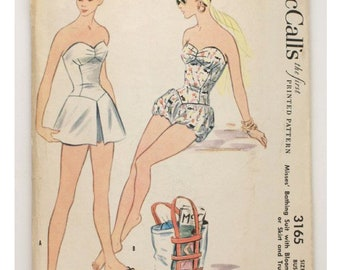 McCall's 3165 Vintage Reproduction Bathing Suit with Bloomers or Skirt and Trunks circa 1955