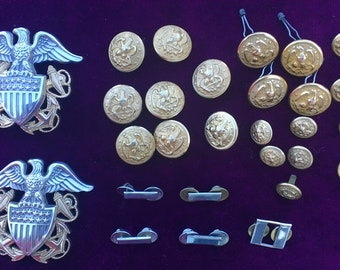 6ff61b81a2a0 Large 28+ piece Lot of VINTAGE US Navy Uniform Pins and Buttons Some  Sterling Silver and Gold Filled
