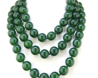 """AAA Natural 12mm Green Jade Jadeite Round Gemstone Bead Knotted Necklace 33/"""""""