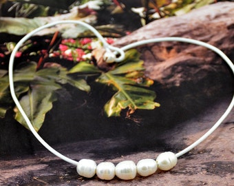 """18"""" Real Pearl Rope Necklace White Pearl White Rope  Choker Necklace Wedding Gift"""