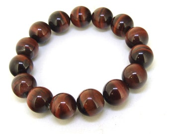 16mm/ 14mm/12mm  Natural Red  Tiger Eye Stone  Round Gemstone Bracelet Beaded  Bracelet
