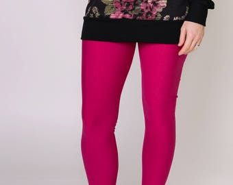 SALE// women's bamboo fleece leggings, pink, size 6, ladies ultra soft warm leggings, ready to ship