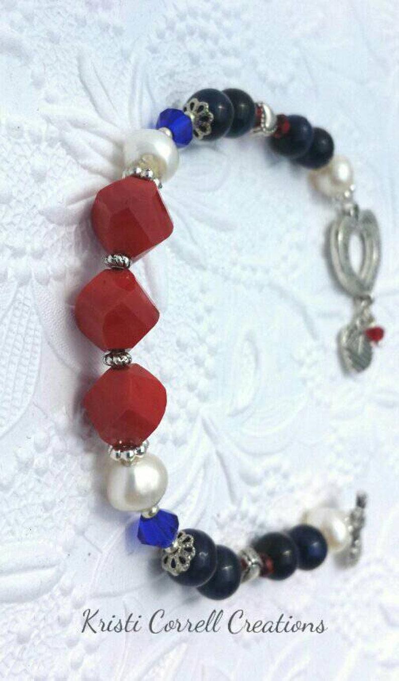 Red White and Blue Jewelry 4th of July Bracelet 4th of July Jewelry Red White and Blue Bracelet Silver Bracelet Patriotic Bracelet