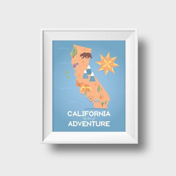 California Adventure art print, state map wall art printable of CA ...