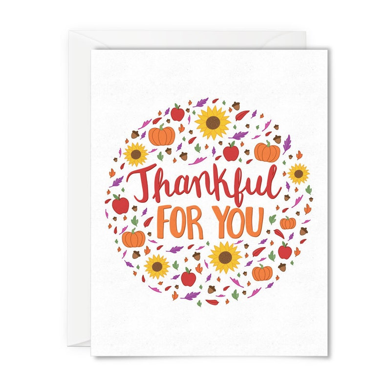 Thankful for you greeting card card for fall autumn note image 0