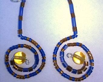 Beaded dangle earrings blue and copper