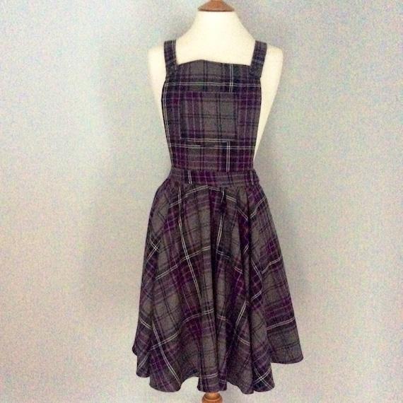 34fbd5d395 Grey   purple plaid tartan check dungaree dress