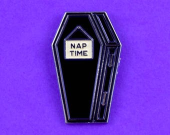 Nap Time Soft Enamel Pin // Coffin // Cute Pin // Pins //  Enamel Pin // Gifts for her // Gift for Him // Gift ideas // Lapel Pin