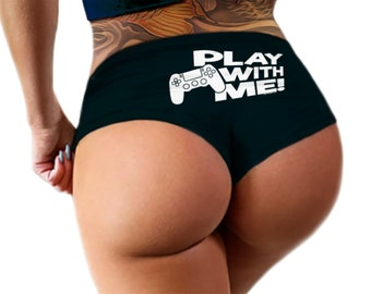 9d0cdb0016aa Play With Me Gamer Panties Sexy Funny Naughty Gamer Girl Booty Shorts  Bachelorette Party Bridal Gift Boy Short Panty Womens Underwear (vPS)