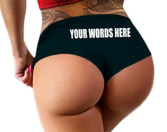 9ed8cd4bde3 Custom Panties Personalized With Your Words Custom Printed Booty Shorts  Customized Womens Underwear